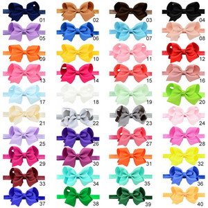 40 colors grosgrain ribbon hair bows With Elastic Headband,baby Bow knot Headband,Boutique Hair Band for Children hair accessories