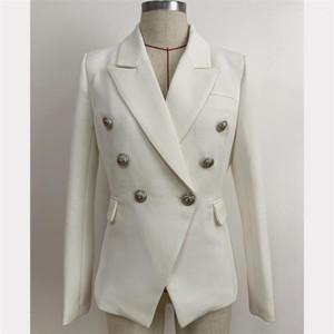 Femmes Blazer Noir Blanc Veste à double boutonnage Femme Slim Costume Lapel Neck Fashion Designer classique