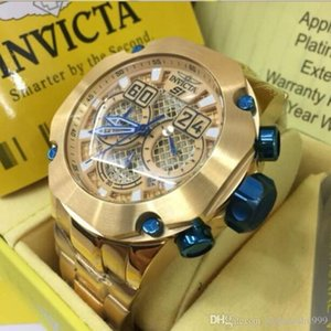 Dropshipping 2020 Top-Qualität Schweizer cosc ​​INVICTA Marke 18k Gold-Chronograph Luminous Multifunktions Vollkalender Herren Quarzuhr
