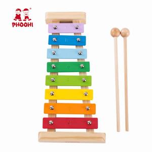 Kinder aus Holz Xylophon Spielzeug Regenbogen-Baby-pädagogische Musikinstrument Percussion-Spielzeug für Kinder PHOOHI