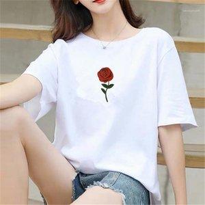 Imprimir camisetas para mujer casuales color puro Regular Longitud Moda camisetas de manga corta de diseño para mujer de la ropa del verano floral