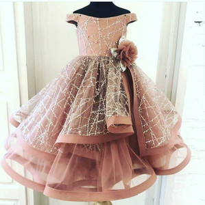 Fard à joues rose 2020 Nouvelle fille de fleur robe de bal petite fille robes de mariée Vintage Encolure Communion Pageant Dress