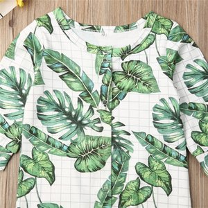 0-24months Новорожденные Одежда 2019 Banana Leaf Печать ребёнки Rompers весна осень зеленый One Piece Комбинезоны для младенцев мальчиков Rompers