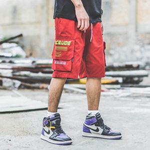 Pantaloncini cargo Harajuku giapponesi con tasche grandi da uomo Pantaloncini cargo urbani con zip da uomo Streetwear Plus Size M-XXL