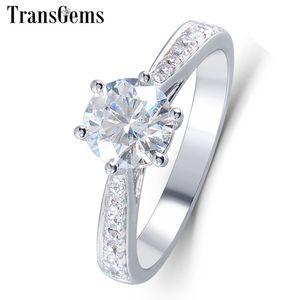 Transgems Solitare Ring 14k 585 Oro blanco 1ct Diámetro de quilate 6.5mm F Color Moissanite Anillo de compromiso para mujeres con acentos