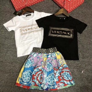 2020 Art und Weise neue Sommer-Mädchen-Mädchen schließen Hülsen-Kleid-Kind-netten Kleid-Babykleidung der gesetzten Kinder der Kleidung Kinderkleider 1216