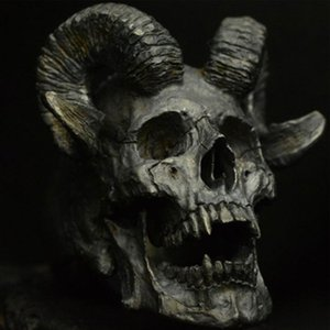 Anillo del cráneo del punk gótico de la vendimia Anillo de acero inoxidable Demonio Satanás cabra Anillo para hombre de la motocicleta