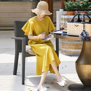 Moda Kelebek Kol Pamuk Keten Gevşek Yaz Elbise Tasarım Ruffles V yaka Lady Gömlek Elbise Sarı Kadınlar Günlük Elbise