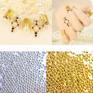 50g piccolo Nail d'argento dorata Caviar Beads sfere di metallo gemma rotondo di nozze, Arte, Artigianato, lussuosa del chiodo 3D della decorazione di arte