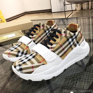 Herren Schuhe Mode Vintage-Überprüfungs-Baumwollwildleder, Neopren und Leder Sneakers Luxus Chaussures gießen hommes Herrenschuhe Sport Low Top Fashion