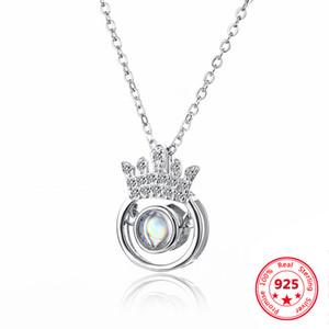 Gümüş S925 100 Diller 100 Çeşitleri I Love You Taç Akıllı kolye Clavicle Zinciri