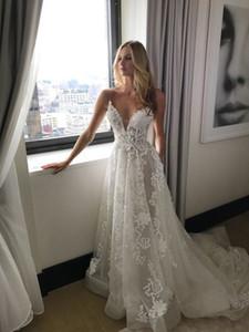Lace Boho Wedding Dresses 2019 Spaghetti Straps V-Neck Wedding Gowns Beach Bride Dress Vestido De Noiva
