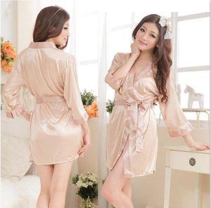 alta calidad corta de seda liso rayón sólido del traje de la ropa interior del camisón de pijama kimono vestido pjs mujeres vestido de la muñeca de la ropa interior del traje de baño + G-string