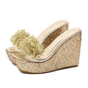 Rhinestone Wedges Sandals Women 2019 Summer Sexy Trifle Slides Casual Beading Open Toe Female Sandals Platform Shoes