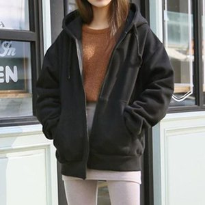 Куртки с капюшоном Женские пальто уличная флисовая с длинным рукавом основные черные свободные карманы на молнии однотонная куртка пальто свитер осенняя куртка