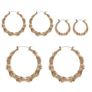 Fashion Jewelry Hip Hop Punk Gold Plated Circle Bamboo Hoops Earrings Exaggerated Nightclub Earrings for Women Gift
