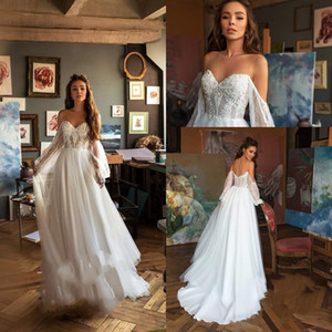 2020 Elegant Bohemia Lace Wedding Dress Praia Long Sleeve Boho Vestidos de casamento simples Off the Shoulder robe de mariee
