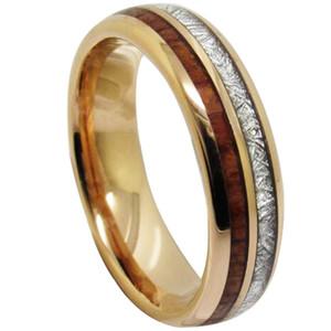 Météorite de 6mm et incrustation de bois bague en or rose de tungstène pour dame de femmes et bague de bijoux de filles