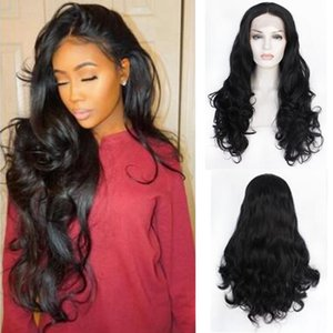 2020 14-26inch ladies natural color fashion front lace big wave chemical fiber high temperature silk long straight hair 350g