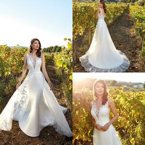 Eddy K Subskirt Свадебные платья Appleiqued Election Electline Sweew Train Satin Elegant Bridal Plasss Custom Made Country Свадебное платье