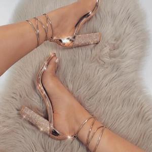 2019 marca de moda tamanho grande 34-43 mulheres de salto alto sandálias bandagem strass tornozelo cinta bombas de super salto alto 11 cm sapatos saltos quadrados senhora