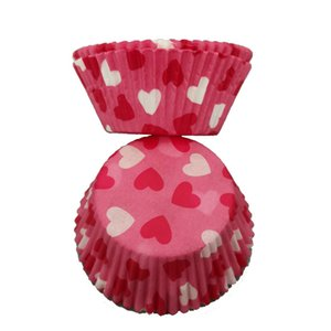 100pcs pack Red Heart Paper Box Cake Cupcake Liner Baking Muffin Case Cup Party Tray Cake Mold Decorating Tools Cupcake Cases