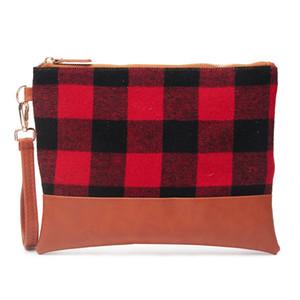 Buffalo Plaid Clutch Noël Buffalo DOMIL rouge Plaid cosmétique Sac femmes buffle Plaid Wristlet sac à main sac avec fermeture éclair DOM-1081139