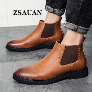 ZSAUAN New Dropshipping 38-45 Size Men Boots British Brogue Style Formal Leather Boots Pointy Male Shoes Fall WInter