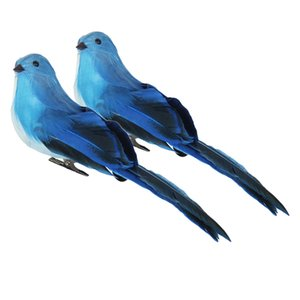 2Pcs Realistic Feathered Birds with Clip, Artificial Foam Birds Crafts for Garden Parties Lawn Decor, Blue