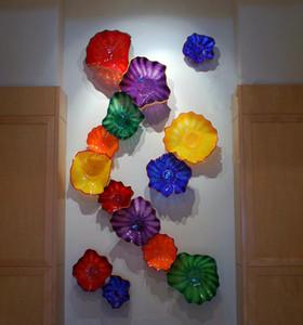 Diseño moderno de cristal de Murano Flores Platters 14pcs montado en la pared luz de la placa para el hogar decoración de pasar el hotel Wall Art