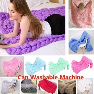 Máquina lavable Chunky Knit Blanket Throw Soft Handmade Knitting Throw para dormitorio Sofá Decoración Manta para Chenille Bulky Xmas HH9-2359