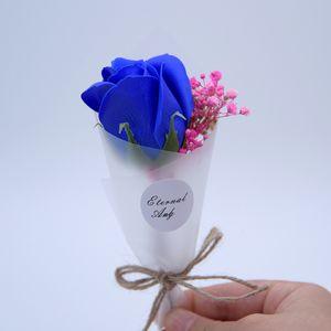 Mariage Une seule fleur artificielle Rose Bain parfumé Savon Rose Bouquet de fleurs pour le mariage Saint Valentin fête des mères enseignants cadeau du jour