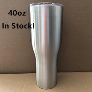 Courbe Tumbler Cooler 40 oz Taille Acier inoxydable Forme tasses d'eau avec Leakproof Couvercles à double paroi à isolation sous vide 40 bière Mug8 Ounce