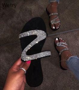 2019 deslizadores de las mujeres Chanclas verano de las mujeres de cristal de diamante de Bling Beach Slides Sandalias Zapatos Casual Resbalón Zapatilla