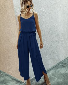 Women Jumpsuits Sexy V-Neck Split Spaghetti Strap Rompers Casual Natural Color Full Length Jumpsuits Hot Style