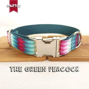 Livraison gratuite Muttco main Petit commerce cool autoconception Le collier de chien Imprimer paon vert Dog Leash 5 tailles Udc010