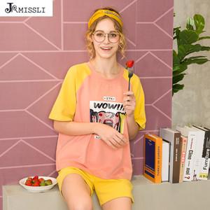 Jrmissli Karikatür Kadınlar Pijama Şort Pijama Yaz Kadın Casual Gevşek kıyafeti kız Sevimli Sleepwear ayarlar Notlar
