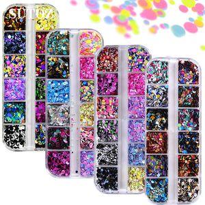 Nail Glitter Paillettes rotonda variopinta forme di coriandoli del chiodo di DIY decorazioni di arte per le unghie Manicure Tips Accessori