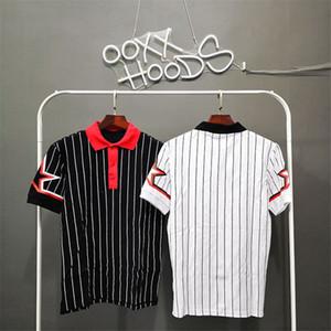 Ünlü Çizgili Erkek T Shirt Mens Polos Erkekler Kadınlar Giyim Kısa Kollu moda star Yaz Tişörtlü Boyut S-XXL