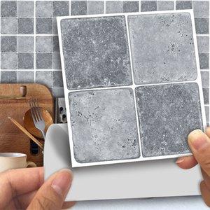 Стены стикеры 25pcs мозаики наклейки Переводы Кухня Серый Античный мрамор Эффект самоклеящаяся декора стены 10x10cm / 15x15cm