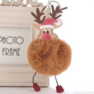 Pendant Elk Noël Keychain Pompon fourrure boule Porte-clés Ornements de Noël Party clés Anneaux Favors Nouvel An Accessoires Bijoux