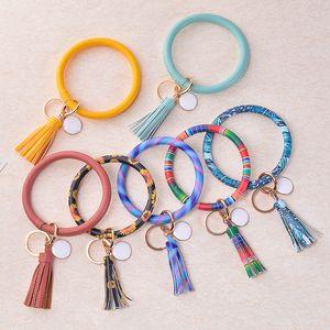 46styles PU Leather O Bracelet Chaveiro Bangle Tassel Chaveiro Círculo Wristlet Keychain Bangle Keyholder para meninas jóias FFA4138 1000pcs