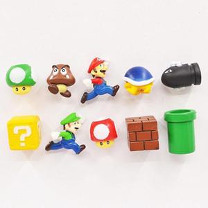 2020 Nueva 10Pcs / Set 3D Super Mario Bros Nevera imanes de nevera de la nota Etiqueta de los niños divertidos juguetes regalo L555