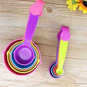 5pcs / set de cucharas de medición coloridas Medida cuchara de plástico Útil azúcar Pastel horneado cuchara de cocina para hornear Herramientas de Medida