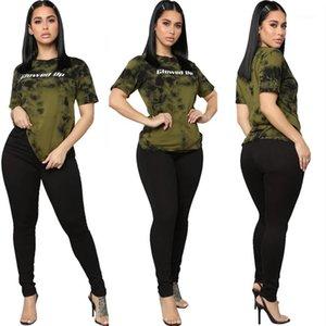 Frauen-Sommer-Kleidung Frauen-Bindung gefärbte 2 Oiece Satz-beiläufige kurze Hülsen glühen Up Brief Zweiteiler Hose