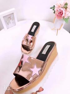 Stella Estrelas Design Mulheres Moda Sandálias Gladiador Meninas Plataforma Chinelos de Verão Senhoras Casuais Sandálias de Praia de Design Da Marca Sapatos Femininos