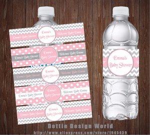 Nuovo design Grigio Rosa Chevron principessa partito della bottiglia di acqua Etichette Candy Bar Wrapper Baby Shower festa di compleanno decorazione del rifornimento