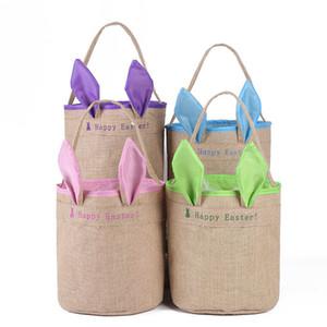 Burlap Happy Easter Basket with Bunny Ears Baskets Jute Bucket Tote Bag Cute Easter Eggs Gift Handbag DIY Rabbit Ears Put Storage Bags