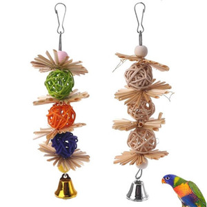 Colorful Parrot Chew Strands Bite Teeth Griding Ball Bell Attractive Bird Parakeet Toys Natural Straw Bird Supplies Pet Toy