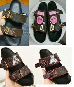 топ кожаный ремень сандалии женщин дизайнерские сандалии мода роскошный коричневый с коробкой мешок для пыли дизайнерская обувь роскошь слайд широкие плоские сандалии тапочки